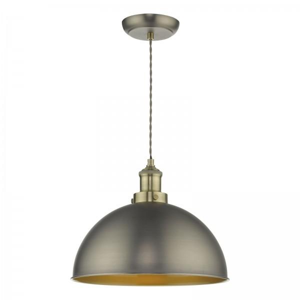 Dar Lighting GOV0161 Governor Pendant Antique Chrome Antique Brass