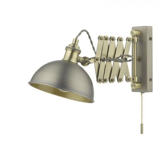 Dar Lighting GOV0761E Governor Extendable Single Spotlight Antique Chrome Antique Brass