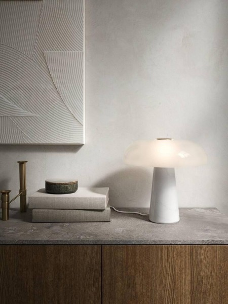 Nordlux 2020505001 Glossy Table Lamp E27 in Marble with Opal White Glass