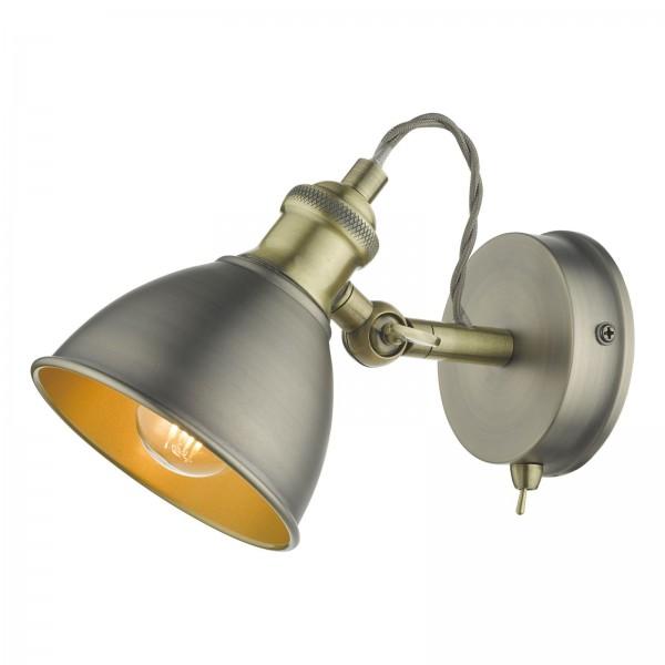 Dar Lighting GOV0761 Governor Single Spotlight Antique Chrome Antique Brass