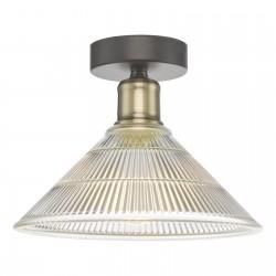 Dar Lighting BOY0175 Boyd 1 Light Flush Antique Brass with Glass Shade