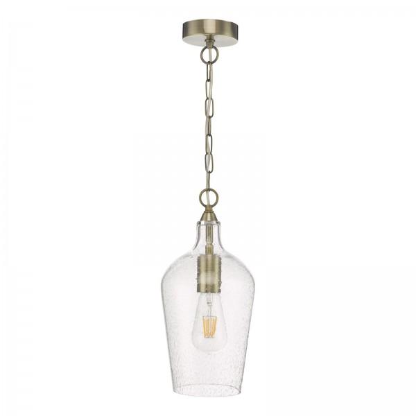 Dar Lighting NID0175 Nida Pendant Antique Brass Glass