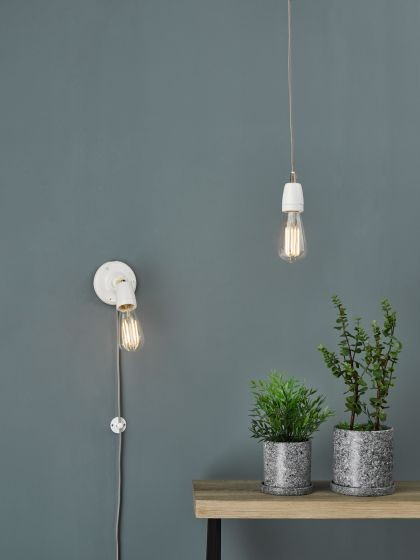 Dar Lighting SIK072 Sika Single Spotlight White Ceramic Antique Brass
