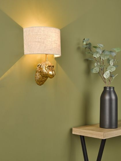 Dar Lighting RAU0735 Raul Monkey Wall Light Gold C/W Natural Linen Shade