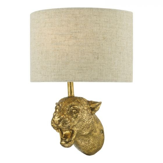 Dar Lighting RUR0735 Ruri Leopard Wall Light Gold C/W Natural Linen Shade