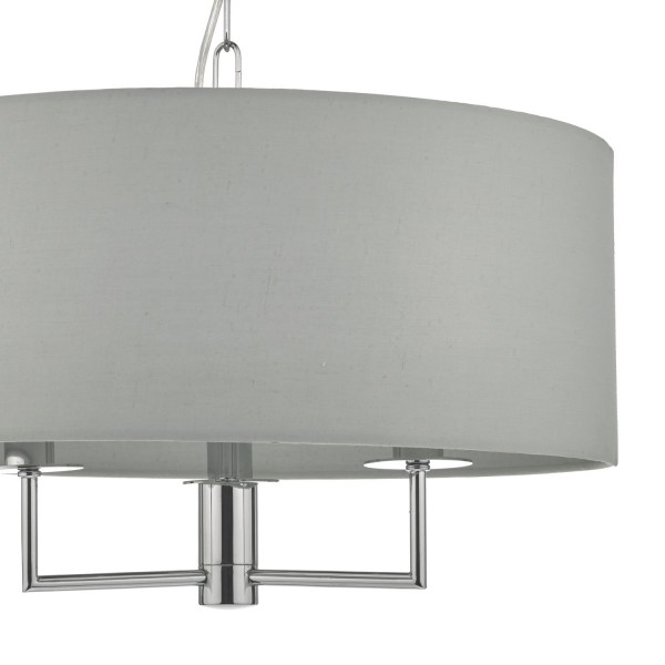 Dar Lighting JAM0339 Jamelia 3lt Pendant Polished Chrome & Grey