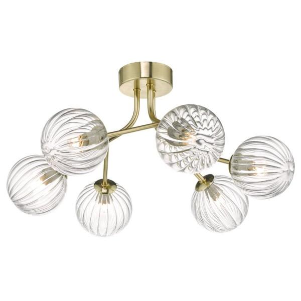 Dar Lighting YIS6435 Yiska 6lt Semi Flush Gold & Glass