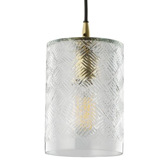 Dar Lighting ZEC0140 Zecchino Pendant Brass & Glass
