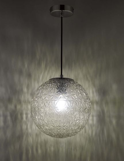 Dar Lighting OSS0108 Ossian 1 Light Pendant Polished Chrome And Clear Glass Small