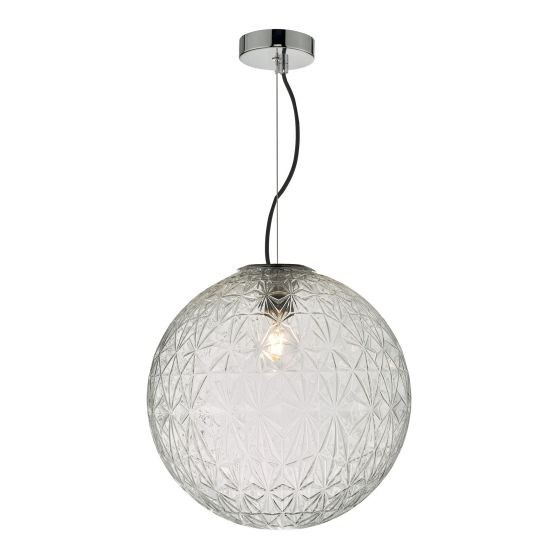 Dar Lighting OSS8608 Ossian 1 Light Pendant Polished Chrome And Clear Glass Large