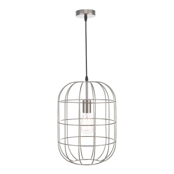 Dar Lighting EUD0146 Eudora 1 Light Pendant Satin Nickel