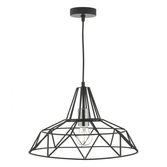 Dar Lighting HIT0122 Hitika 1lt Pendant Black & Polished Chrome