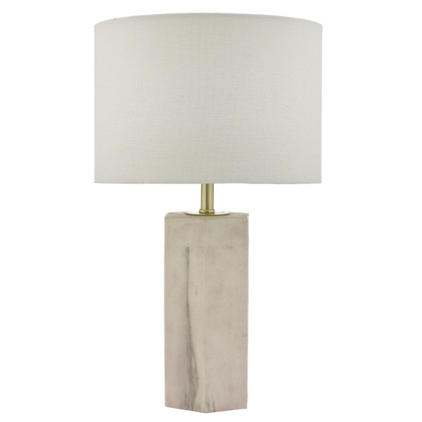 Dar Lighting NAL4203 Nalani Table Lamp Pink & Marble Effect With Linen Shade
