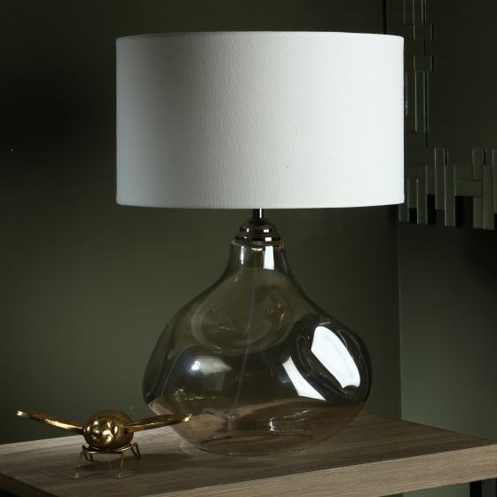 Dar Lighting ESA4210 Esarosa Table Lamp Smoked Glass With Shade