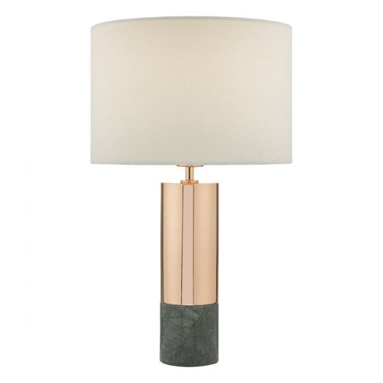 Dar Lighting DIG4264 Digby Table Lamp Copper & Green With Shade
