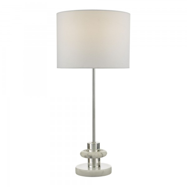 Dar Lighting LYD4250 Lydian Table Lamp Crystal & Marble With Shade