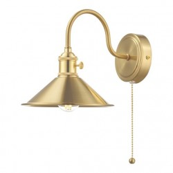 Dar Lighting HAD0740-01 Hadano 1lt Wall Light Brass With Brass Shade