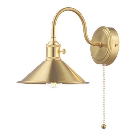 Dar Lighting HAD0740-01 Hadano 1lt Wall Light Brass With Brass Shade