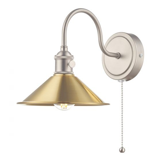 Dar Lighting HAD0761-01 Hadano 1lt Wall Light Antique Chrome With Aged Brass Shade