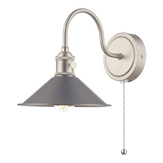 Dar Lighting HAD0761-02 Hadano 1lt Wall Light Antique Chrome With Antique Pewter Shade