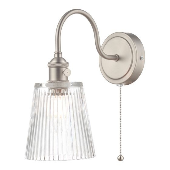 Dar Lighting HAD0761-05 Hadano 1lt Wall Light Antique Chrome With Clear Ribbed Glass Shade