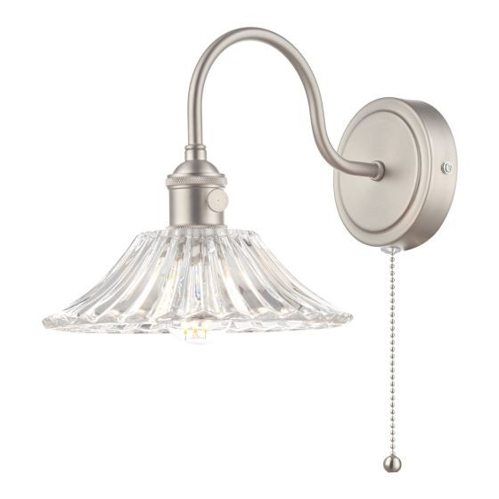 Dar Lighting HAD0761-04 Hadano 1lt Wall Light Antique Chrome With Clear Flared Glass shade