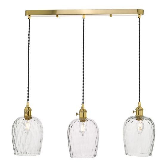 Dar Lighting HAD3640-03 Hadano 3 Light Brass Suspension With Dimpled Glass Shades