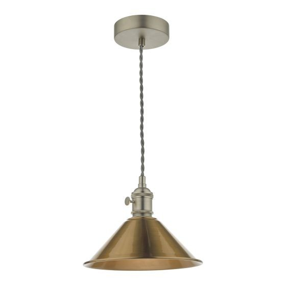 Dar Lighting HAD0161-01 Hadano 1 Light Pendant Antique Chrome C/W Aged Brass Shade