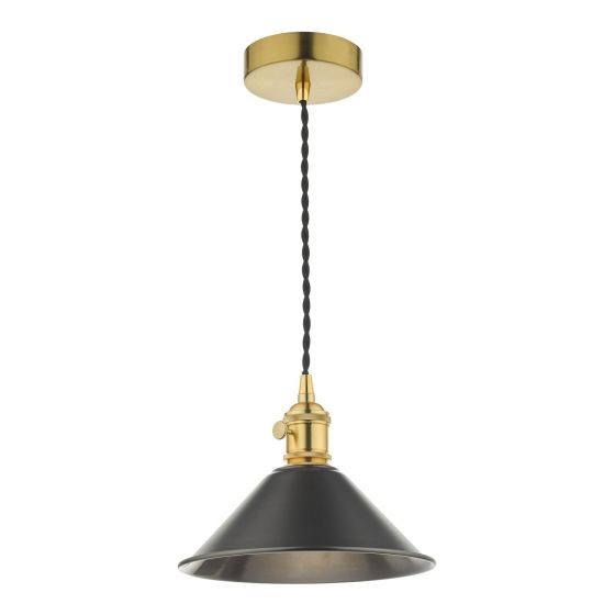 Dar Lighting HAD0140-02 Hadano 1 Light Pendant Natural Brass C/W Antique Pewter Shade