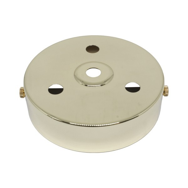 S. Lilley & Son D580/3P 100mm Four Hole Polished Brass Ceiling Plate