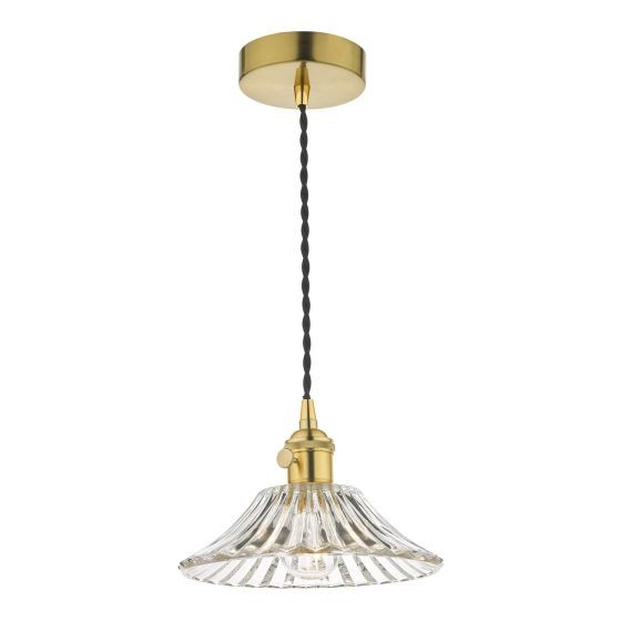 Dar Lighting HAD0140-04 Hadano 1 Light Pendant Natural Brass C/W Flared Glass Shade