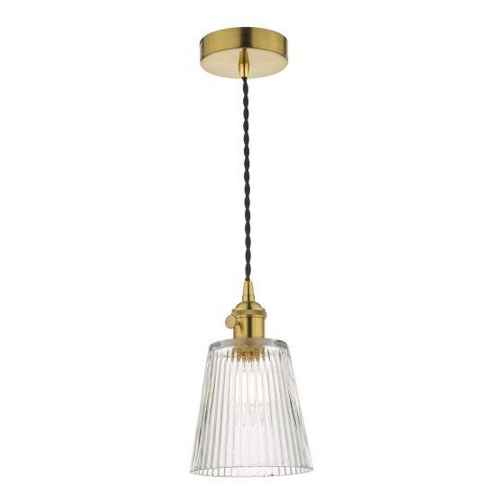 Dar Lighting HAD0140-05 Hadano 1 Light Pendant Natural Brass C/W Ribbed Glass Shade