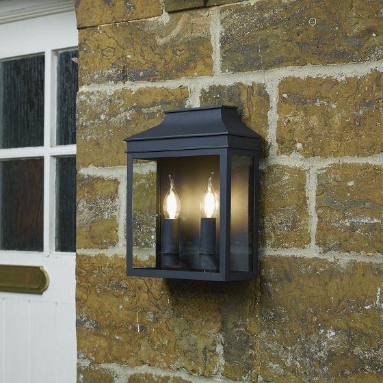 Dar Lighting VAP5022 Vapour 2Lt Coach Lantern Wall Light Black IP44