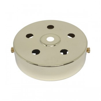 S. Lilley & Son D580/5P 100mm Six Hole Polished Brass Ceiling Plate
