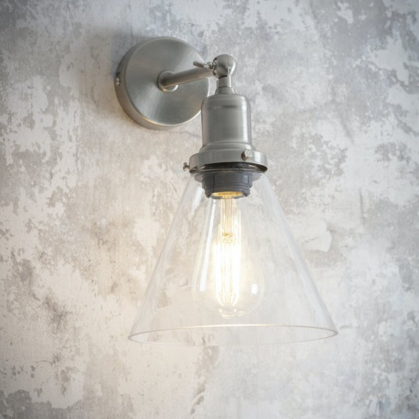 Garden Trading  LAHO14 Hoxton Cone Wall Light in Satin Nickel