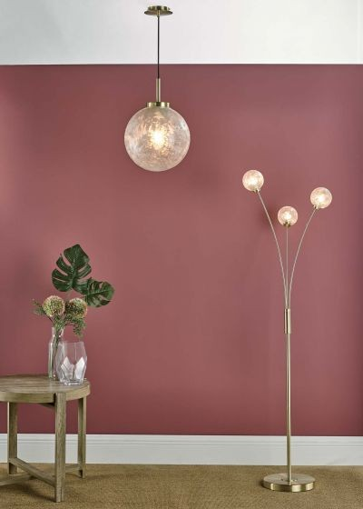 Dar Lighting AVA4941 Avari 3 Light Floor Lamp Satin Brass And Clear Frosted Glass