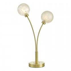 Dar Lighting AVA4241 Avari 2 Light Table Lamp Satin Brass Glass