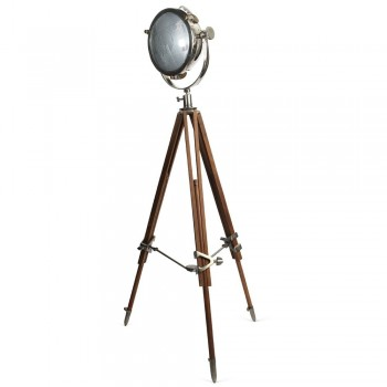 Culinary Concepts CC-2489-PNNW Rolls Headlamp Spotlight Polished Nickel with Natural Wood