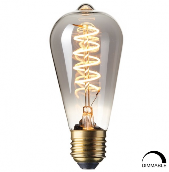 Calex 425753 Spiral Smokey squirrel cage LED dimmable Lightbulb