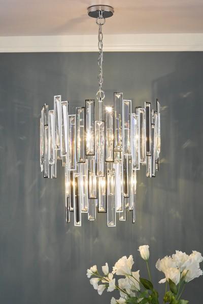 Dar Lighting ODI0650 Odile 6 Light Pendant Polished Chrome Clear Crystal