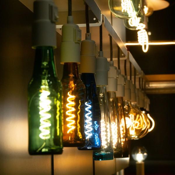 Segula 50127 Design Line 8W 2800K Dimmable E27 Green Beer Bottle LED Bulb with Spiral Filament