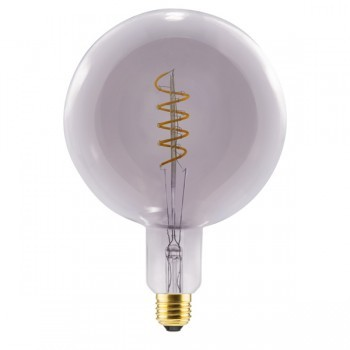 Segula 50402 Design Line 8W 2000K Dimmable E27 Smokey Grey Grand Globe 200 LED Bulb with Curved Spiral Filament