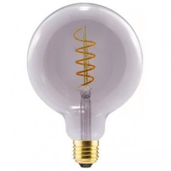 Segula 50506 Design Line 8W 2000K Dimmable E27 Smokey Grey Globe 125 LED Bulb with Curved Spiral Filament