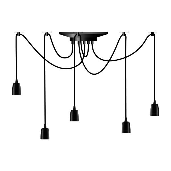 Segula 50588 Pendant Line Phoenix 5 Light Porcelaine Black Pendant with Black Textile Cable