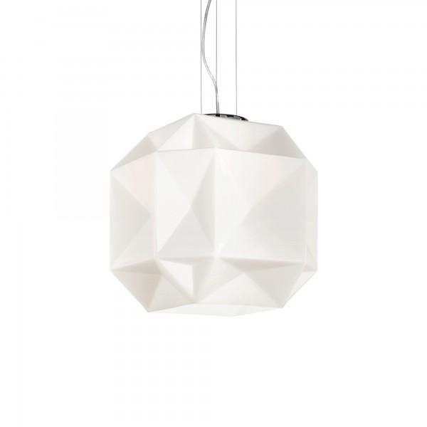 Ideal Lux 022505 Diamond SP1 Medium Chrome Metal Pendant with Glass Diffuser