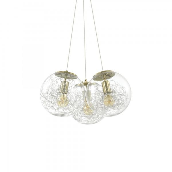 Ideal Lux 175973 Mapa Sat 3 Light Glass Pendant with Aluminum Threads Decoration