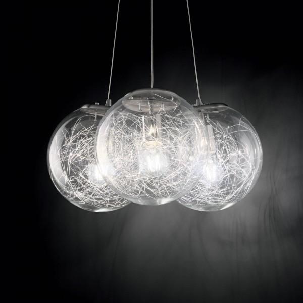 Ideal Lux 176031 Mapa Sat 3 Light Glass Pendant with Aluminum Thread Decoration
