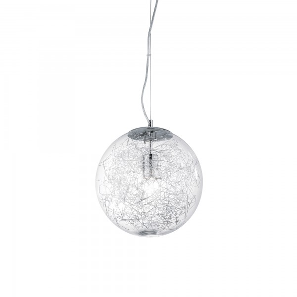 Ideal Lux 045115 Mapa Max Clear Blown Glass Pendant with Aluminum Thread Decoration