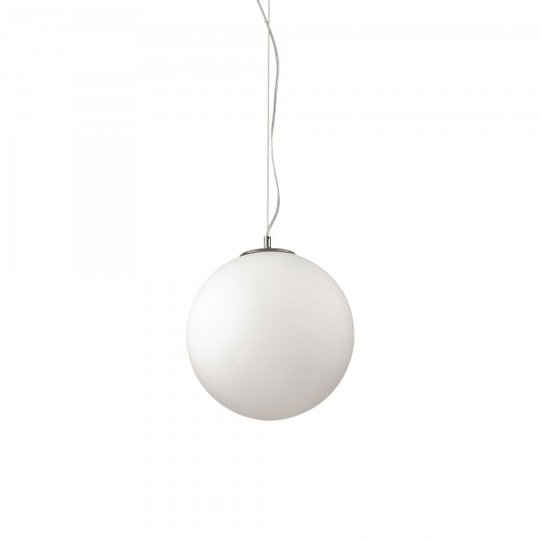 Ideal Lux 161365 Mapa Riga D50 White Acid-Etched Blown Glass Globe Pendant