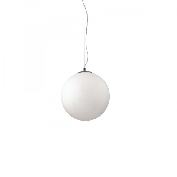 Ideal Lux 161372 Mapa Riga D40 White Acid-Etched Blown Glass Globe Pendant
